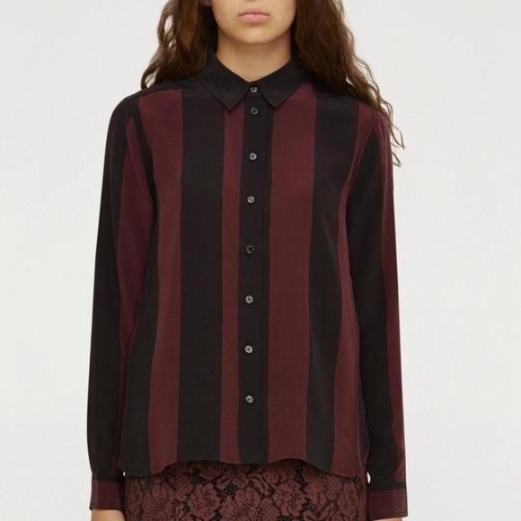 cb8a797a Ganni Tops | Silk Blouse With Burgundy Stripes | Poshmark